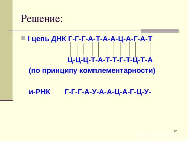 * Решение: I цепь ДНК Г-Г-Г-А-Т-А-А-Ц-А-Г-А-Т Ц-Ц-Ц-Т-А-Т-Т-Г-Т-Ц-Т-А (по принципу комплементарности) и-РНК Г-Г-Г-А-У-А-А-Ц-А-Г-Ц-У-