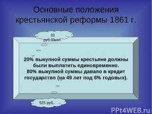 Основные положения крестьянской реформы 1861 г. 20% выкупной суммы крестьяне дол