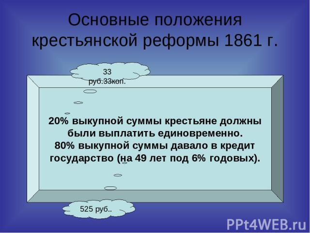 Основные положения крестьянской реформы 1861 г. 20% выкупной суммы крестьяне должны были выплатить единовременно. 80% выкупной суммы давало в кредит государство (на 49 лет под 6% годовых). 33 руб.33коп. 525 руб..