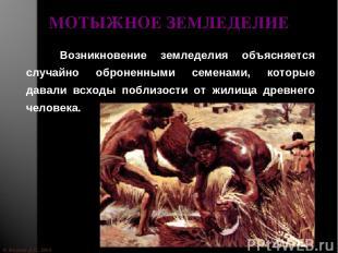 © Жадаев Д.Н., 2005 МОТЫЖНОЕ ЗЕМЛЕДЕЛИЕ Возникновение земледелия объясняется слу