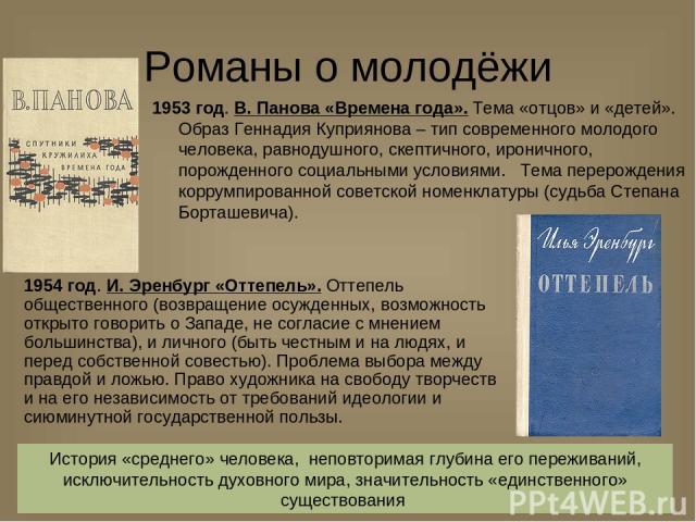 Романы о молодёжи 1953 год. В. Панова «Времена года». Тема «отцов» и «детей». Образ Геннадия Куприянова – тип современного молодого человека, равнодушного, скептичного, ироничного, порожденного социальными условиями. Тема перерождения коррумпированн…