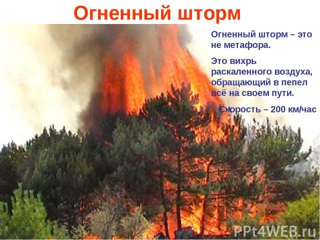 Огненный шторм Огненный шторм – это не метафора. Это вихрь раскаленного воздуха, обращающий в пепел всё на своем пути. Скорость – 200 км/час
