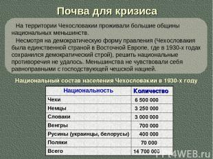 Почва для кризиса Национальный состав населения Чехословакии в 1930-х году На те