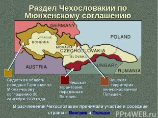 Раздел Чехословакии по Мюнхенскому соглашению Судетская область, передана Герман