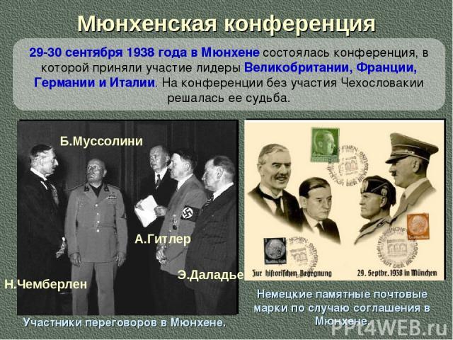 Мюнхенская конференция Участники переговоров в Мюнхене. Н.Чемберлен Б.Муссолини А.Гитлер Э.Даладье Немецкие памятные почтовые марки по случаю соглашения в Мюнхене. 29-30 сентября 1938 года в Мюнхене состоялась конференция, в которой приняли участие …