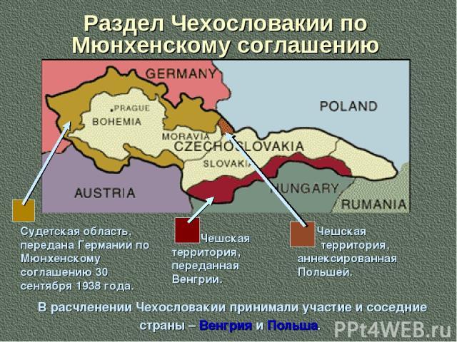Раздел Чехословакии по Мюнхенскому соглашению Судетская область, передана Германии по Мюнхенскому соглашению 30 сентября 1938 года. Чешская территория, переданная Венгрии. Чешская территория, аннексированная Польшей. В расчленении Чехословакии прини…
