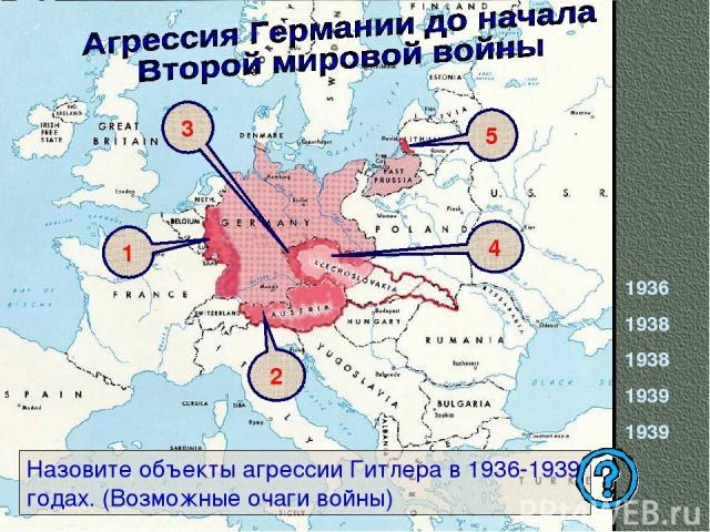 1936 1938 1938 1939 1939 Назовите объекты агрессии Гитлера в 1936-1939 годах. (Возможные очаги войны) 3 1 2 4 5