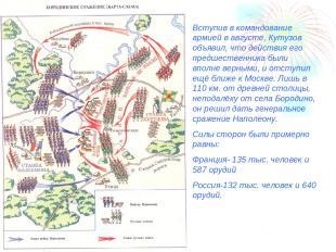 Вступив в командование армией в августе, Кутузов объявил, что действия его предш