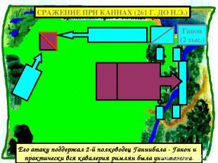 Его атаку поддержал 2-й полководец Ганнибала - Ганон и практически вся кавалерия