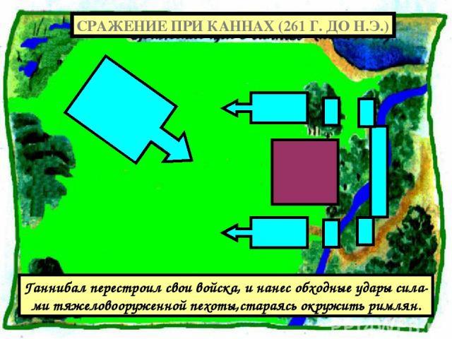 Ганнибал перестроил свои войска, и нанес обходные удары сила- ми тяжеловооруженной пехоты,стараясь окружить римлян. СРАЖЕНИЕ ПРИ КАННАХ (261 Г. ДО Н.Э.)