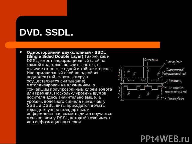 DVD. SSDL. Односторонний двухслойный - SSDL (Single Sided Double Layer) Так же, как и DSSL, имеет информационный слой на каждой подложке, но считывается, в отличие от него, с одной и той же стороны. Информационный слой на одной из подложек (той, скв…