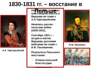1830-1831 гг. – восстание в Польше Ноябрь 1830 г. - захват повстанцами власти в