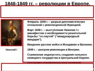 1848-1849 гг. – революции в Европе. Февраль 1848 г. – разрыв дипломатических отн