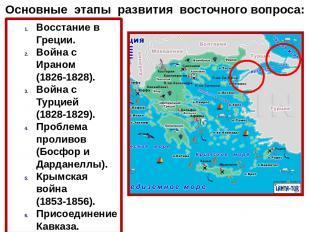 Основные этапы развития восточного вопроса: Восстание в Греции. Война с Ираном (