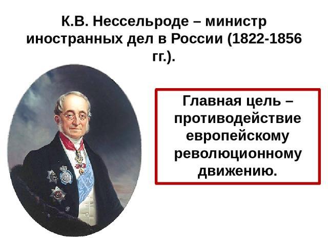 К.В. Нессельроде – министр иностранных дел в России (1822-1856 гг.). Главная цель – противодействие европейскому революционному движению.
