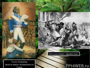 Тусен Лувертюр провозглашает независимость Гаити Бои повстанцев с французами.