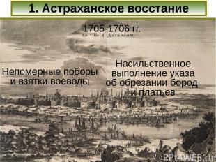 1. Астраханское восстание 1705-1706 гг. Непомерные поборы и взятки воеводы Насил