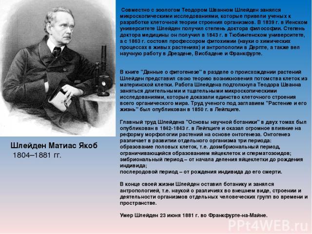 Шлейден Матиас Якоб 1804–1881 гг. Совместно с зоологом Теодором Шванном Шлейден занялся микроскопическими исследованиями, которые привели ученых к разработке клеточной теории строения организмов. В 1839 г. в Иенском университете Шлейден получил степ…