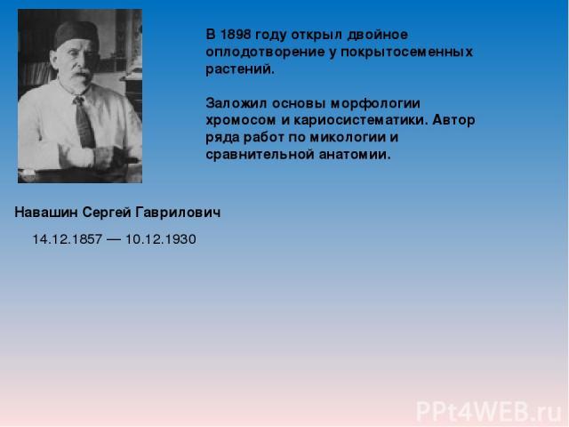Навашин Сергей Гаврилович В 1898 году открыл двойное оплодотворение у покрытосеменных растений. Заложил основы морфологии хромосом и кариосистематики. Автор ряда работ по микологии и сравнительной анатомии. 14.12.1857 — 10.12.1930