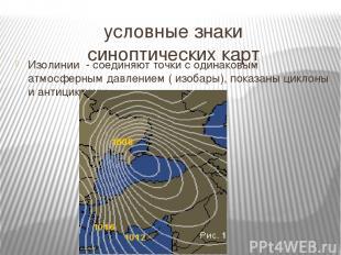 условные знаки синоптических карт Изолинии - соединяют точки с одинаковым атмосф
