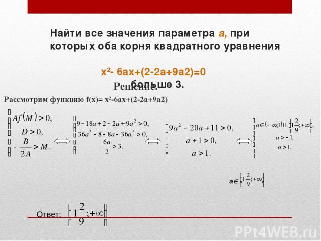Найти все значения параметра а, при которых оба корня квадратного уравнения x2- 6ax+(2-2a+9a2)=0 больше 3. Решение. Рассмотрим функцию f(x)= x2-6ax+(2-2a+9a2) a Ответ: