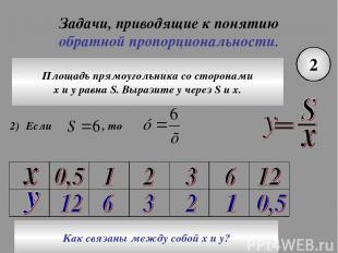 Задачи, приводящие к понятию обратной пропорциональности. 2 Площадь прямоугольни