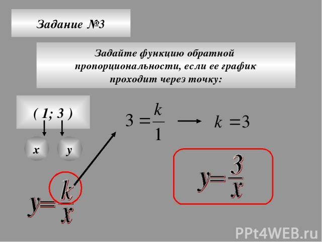 Задание №3 Задайте функцию обратной пропорциональности, если ее график проходит через точку: ( 1; 3 ) х у