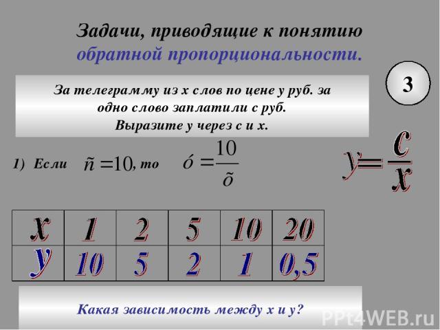 Задачи, приводящие к понятию обратной пропорциональности. 3 За телеграмму из х слов по цене у руб. за одно слово заплатили с руб. Выразите у через с и х. Какая зависимость между х и у?