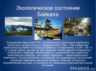 Экологическое состояние Байкала Сооружение Иркутской ГЭС, Селенгинского картонно