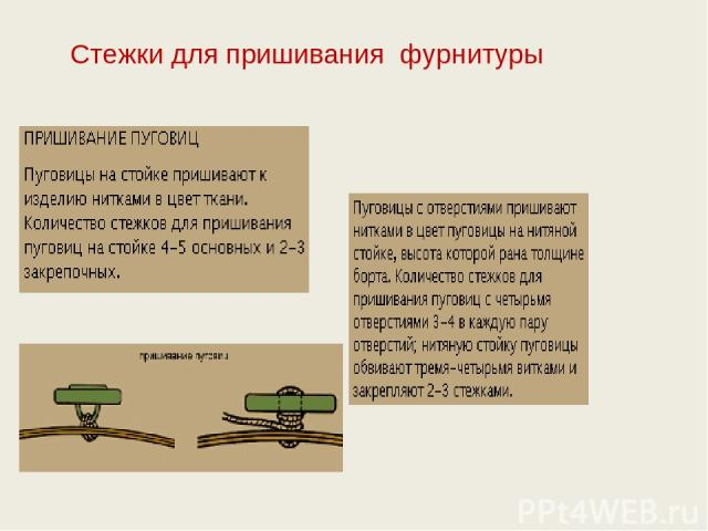 Стежки для пришивания фурнитуры
