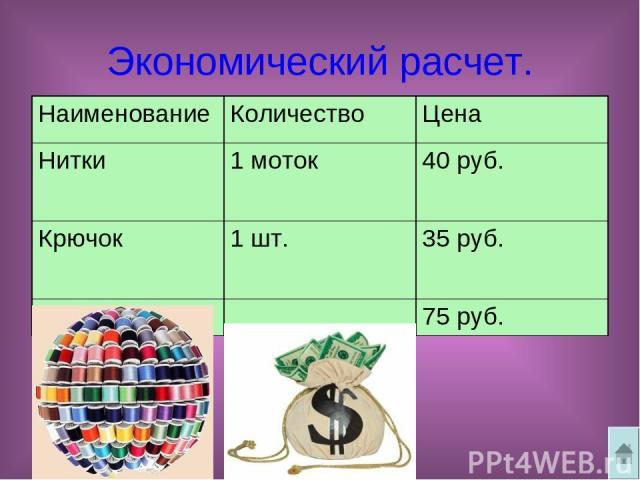 Экономический расчет. Наименование Количество Цена Нитки 1 моток 40 руб. Крючок 1 шт. 35 руб. Всего 75 руб.