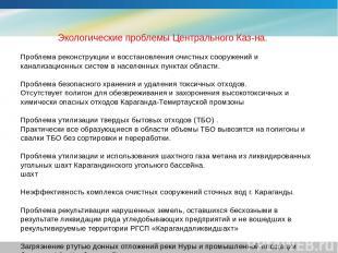 Экологические проблемы Центрального Каз-на. Проблема реконструкции и восстановле