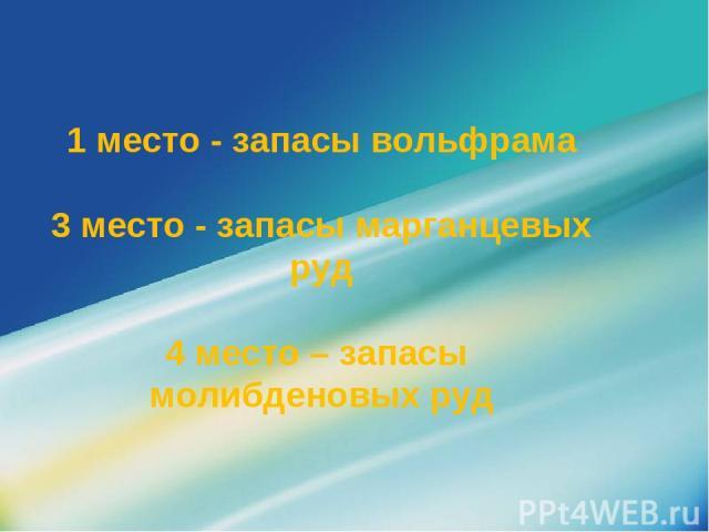 1 место - запасы вольфрама 3 место - запасы марганцевых руд 4 место – запасы молибденовых руд