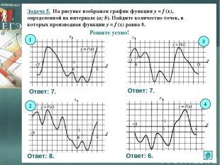 Задача 5. На рисунке изображен график функции y = f (x), определенной на интерва