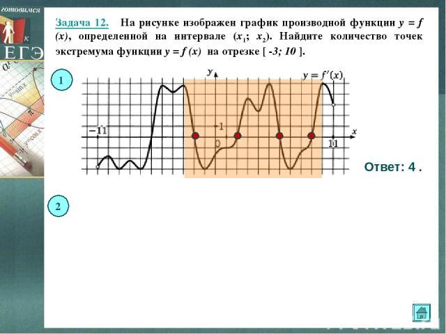 Задача 12. На рисунке изображен график производной функции y = f (x), определенной на интервале (x1; x2). Найдите количество точек экстремума функции y = f (x) на отрезке [ -3; 10 ]. Ответ: 4 . Ответ: 4 . 1 2