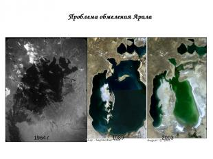1964 г 1989 2003 Проблема обмеления Арала