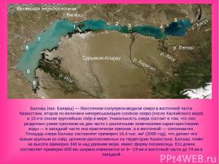 Балха ш (каз. Балқаш) — бессточное полупресноводное озеро в восточной части Каза
