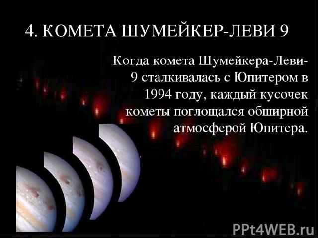 4. КОМЕТА ШУМЕЙКЕР-ЛЕВИ 9 Когда комета Шумейкера-Леви-9 сталкивалась с Юпитером в 1994 году, каждый кусочек кометы поглощался обширной атмосферой Юпитера.
