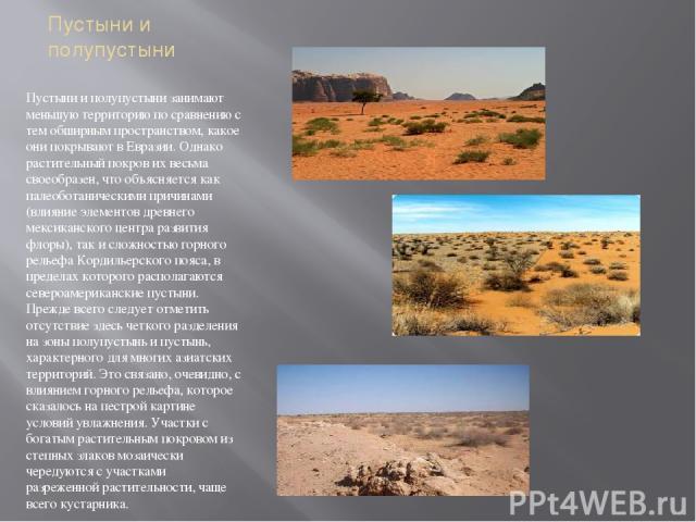 Пустыни и полупустыни Пустыни и полупустыни занимают меньшую территорию по сравнению с тем обширным пространством, какое они покрывают в Евразии. Однако растительный покров их весьма своеобразен, что объясняется как палеоботаническими причинами (вли…
