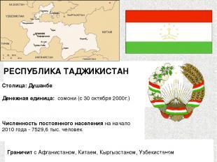 РЕСПУБЛИКА ТАДЖИКИСТАН  Столица: Душанбе Денежная единица: сомони (с 30 октябр