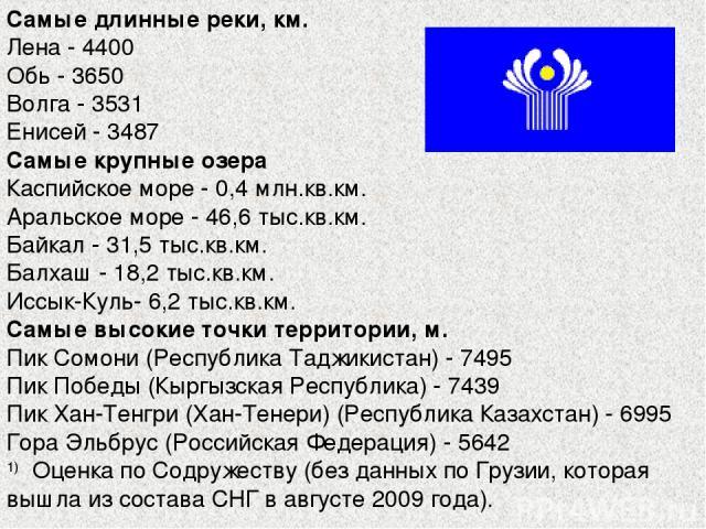 Самые длинные реки, км. Лена - 4400 Обь - 3650 Волга - 3531 Енисей - 3487 Самые крупные озера Каспийское море - 0,4 млн.кв.км. Аральское море - 46,6 тыс.кв.км. Байкал - 31,5 тыс.кв.км. Балхаш - 18,2 тыс.кв.км. Иссык-Куль- 6,2 тыс.кв.км. Самые высоки…