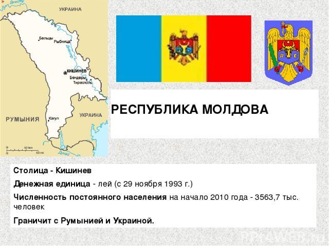 РЕСПУБЛИКА МОЛДОВА  Столица - Кишинев Денежная единица - лей (с 29 ноября 1993 г.) Численность постоянного населения на начало 2010 года - 3563,7 тыс. человек Граничит с Румынией и Украиной.