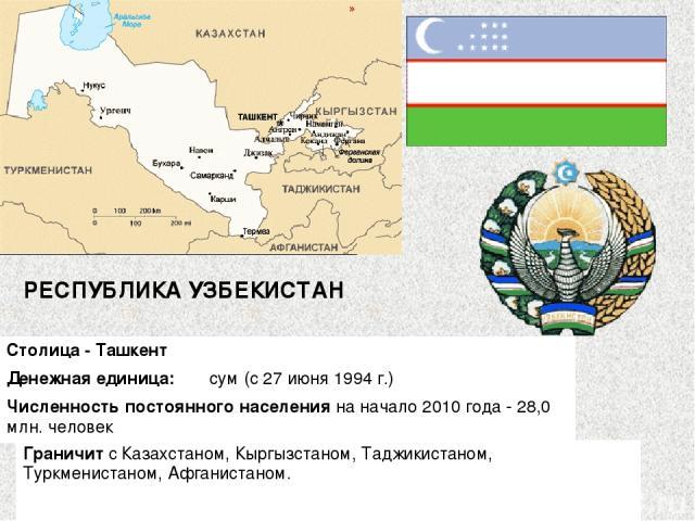 РЕСПУБЛИКА УЗБЕКИСТАН Столица - Ташкент Денежная единица:  сум (с 27 июня 1994 г.) Численность постоянного населения на начало 2010 года - 28,0 млн. человек Граничит с Казахстаном, Кыргызстаном, Таджикистаном, Туркменистаном, Афганистаном.