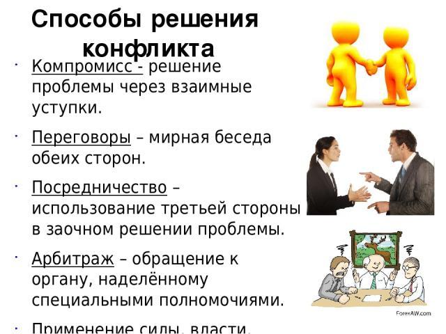 Компромисс - решение проблемы через взаимные уступки. Переговоры – мирная беседа обеих сторон. Посредничество – использование третьей стороны в заочном решении проблемы. Арбитраж – обращение к органу, наделённому специальными полномочиями. Применени…