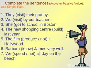 Complete the sentences (Active or Passive Voice). Use Simple Past. 1. They (visi
