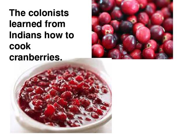 The colonists learned from Indians how to cook cranberries.