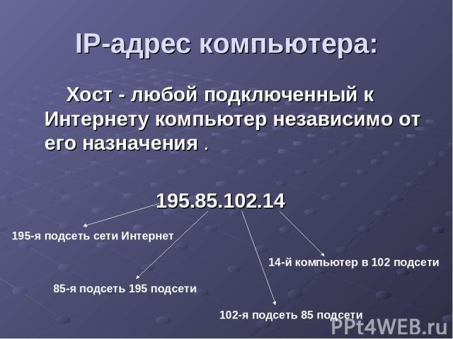 IP-адрес компьютера: Хост - любой подключенный к Интернету компьютер независимо от его назначения . 195.85.102.14 195-я подсеть сети Интернет 85-я подсеть 195 подсети 102-я подсеть 85 подсети 14-й компьютер в 102 подсети