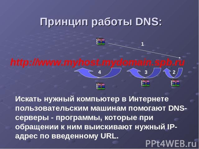 http://www.myhost.mydomain.spb.ru Принцип работы DNS: 1 2 3 4 Искать нужный компьютер в Интернете пользовательским машинам помогают DNS-серверы - программы, которые при обращении к ним выискивают нужный IP-адрес по введенному URL.