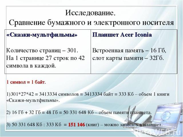 Исследование. Сравнение бумажного и электронного носителя 1 символ = 1 байт. 301*27*42 = 3413334 символов = 3413334 байт = 333 Кб – объем 1 книги «Сказки-мультфильмы». 2) 16 Гб + 32 Гб = 48 Гб = 50 331 648 Кб – объем памяти планшета. 3) 50 331 648 К…