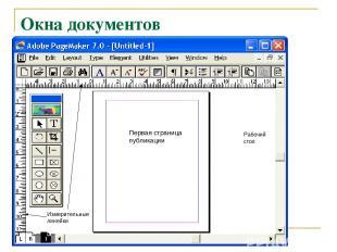 Окна документов Первая страница публикации Рабочий стол Измерительные линейки